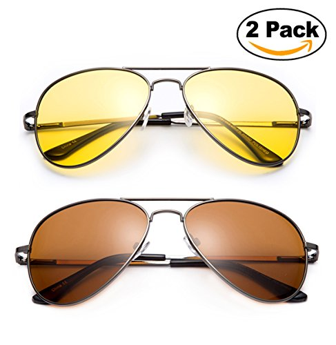 2 Pack - Night Vision Driving Glasses Yellow Amber Lens & Day Time Driving Sunglasses Copper Lens-Classic Aviator Style Glasses with Comfortable Spring Hinge Fit for Most - Shipping 2 Sunglasses Day