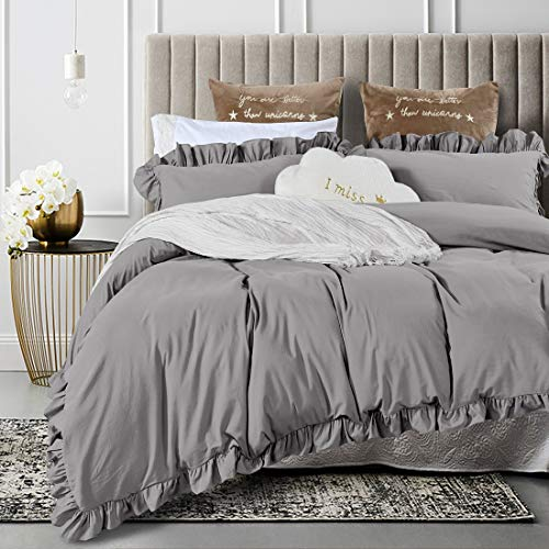 Queen's House Duvet Cover King Gray Washed Cotton Ruffles Quilt Cover Bedding King Set-Shabby Ruffle,Grey (King Bedding Gray)