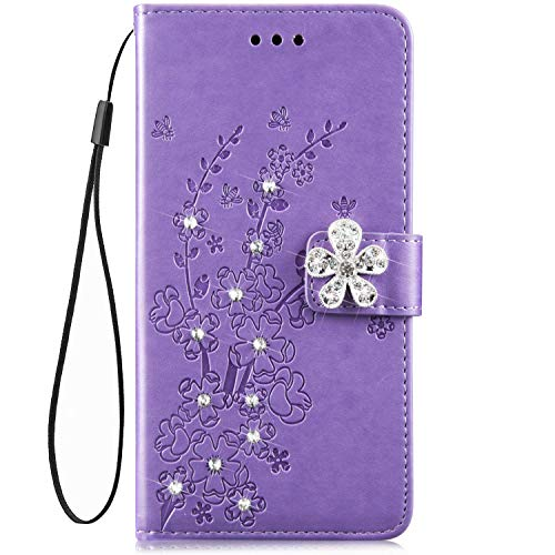 IKASEFU Galaxy S7 Case,Shiny Rhinestone Emboss Plum blossom Floral Pu Leather Diamond Bling Wallet Strap Case with Card Holder Magnetic Flip Cover Case for Samsung Galaxy S7,Purple (Plum Shiny)