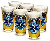 Cheap Pint Glasses – EMT Paramedic Gifts for Men or Women – EMT Beer Glassware – Hero's EMS Beer Glasses with Logo – Set of 12 (16 Oz)