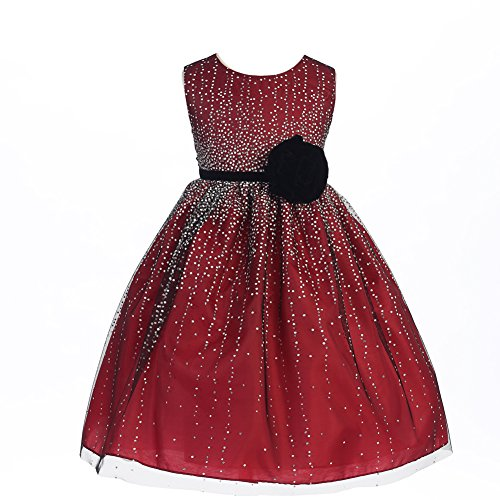 Crayon Kids Big Girls Red Velvet Flower Sash Sequin Christmas Dress - Occasion Special Dress Christmas