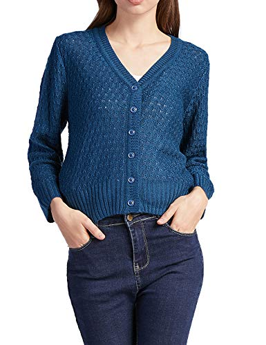 Women Button Down 3/4 Sleeve Knit Cropped Cardigans Crochet Sweater V Neck Ladies Short Bolero Cardigan Blue L (3/4 Cardigan Sleeve V-neck)