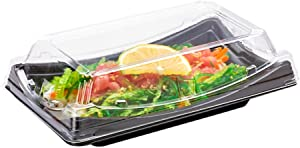 Roku 7.5 x 4.75 Inch Sushi Trays, 100 Disposable Sushi Containers With Lids - Short, Take Out Containers For Appetizers, Entrees, or Desserts, Black Plastic To Go Containers - Restaurantware