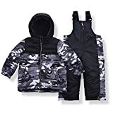 Arctic Quest Toddler Boys Color Block Snowsuit Fleece Lined Hooded Jacket and Bib Set