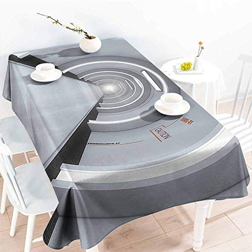 GOMAE Creative Rectangle Tablecloth Outer Space Decor Imaginative Interior of Cosmos Center Extraterrestrial Life World Picture Light Gray Buffet,Parties,Holiday Dinner,Picnic 60x120 (World Trade Center Woman In The Hole)