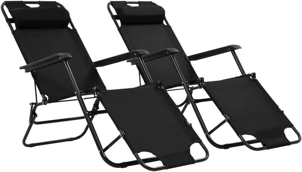 vidaXL 2X Tumbonas Plegables con Reposapiés Negro Mobiliario de Terraza Jardín