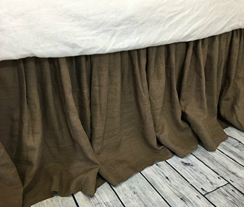 Cedar Dark Brown linen Bed Skirt, gathered ruffle, dark brown bed skirt, dark brown dust ruffle, Twin Bed Skirt, Queen Bed Skirt, King Bed Skirt, HANDMADE, FREE SHIPPING