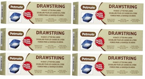 Petmate Drawstring Hi Back Litter Pan Liner Large 72 ct (6x12ct), My Pet Supplies