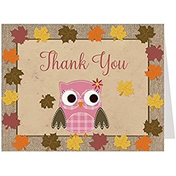 amazoncom autumn baby shower thank you cards owl
