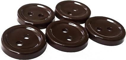 Seven Brown Square Plastic Buttons