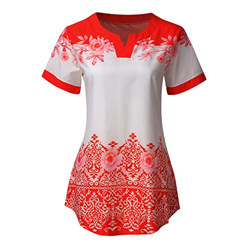TOTOD Elegant Tops for Womens, Summer V-Neck Casual Short Sleeve Floral Printed Top T Shirt Blouse - Rhinestone T-shirt Couture