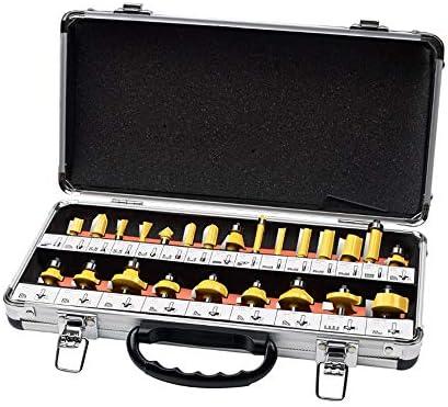 Router-Bit Set- 24 Stück Kit mit 8mm Schaft und Holz-Speicher-Fall Holzbearbeitungswerkzeuge for Bau- und Heimwerker