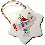 3dRose Anne Marie Baugh - Illustrations - Cute Red and White Bear With School Supplies Illustration - 3 inch Snowflake Porcelain Ornament (orn_267694_1)
