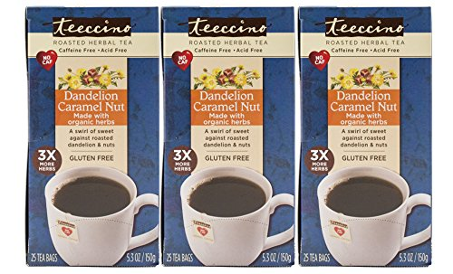 Teeccino Dandelion Caramel Nut Chicory Herbal Tea Bags, Gluten Free, Caffeine Free, Acid Free, 25 Count (Pack of 3) -