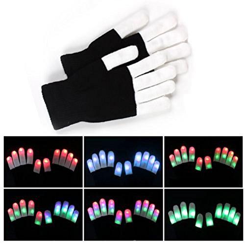 1 Pair LED Gloves Rave, Flashing Finger Tip Lights Toys, 7 Modes, Gloves for Party Festivals