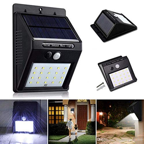 Luvina Solar Lights Outdoor, Waterproof Wireless 20 LED Solar Motion Sensor Wall Light Security Night Lighting with Easy Install for Patio, Deck, Yard, Garden, Fence, Driveway, Garage