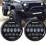 Turbo Pair 7 Inch Black Led Headlight with DRL Hi/lo Beam for Jeep Wrangler Jk Tj Harley Davidson with H4 Plug H4-h13 Adapter