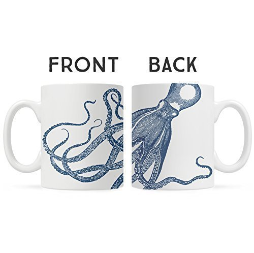 Nautical Sea Life Octopus Kraken Coffee Mug, Unique Fun Mugs, Gift for Dad, Boyfriend, Friend, Coworker