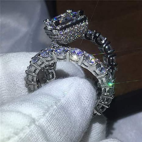 Amazon.com: JEWH [2 Pcs/Set] Vintage Luxury Ring - Pave Setting 5A Zircon CZ 925 Sterling Silver Rings - Engagement Wedding Band Rings Set for Women (9): ...