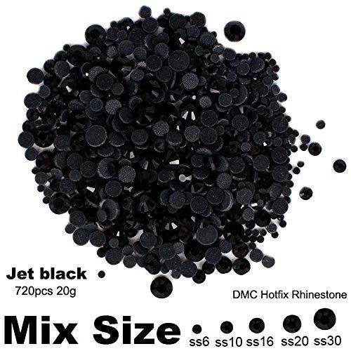 - Kamas Hotfix Strass Jet Black Mixed sizes SS6 SS10 SS16 SS20 SS30 720pcs 20g for Rhinestone Motifs Nail Art Dec Shiny Nail Strass - (Color: 05 jet black)