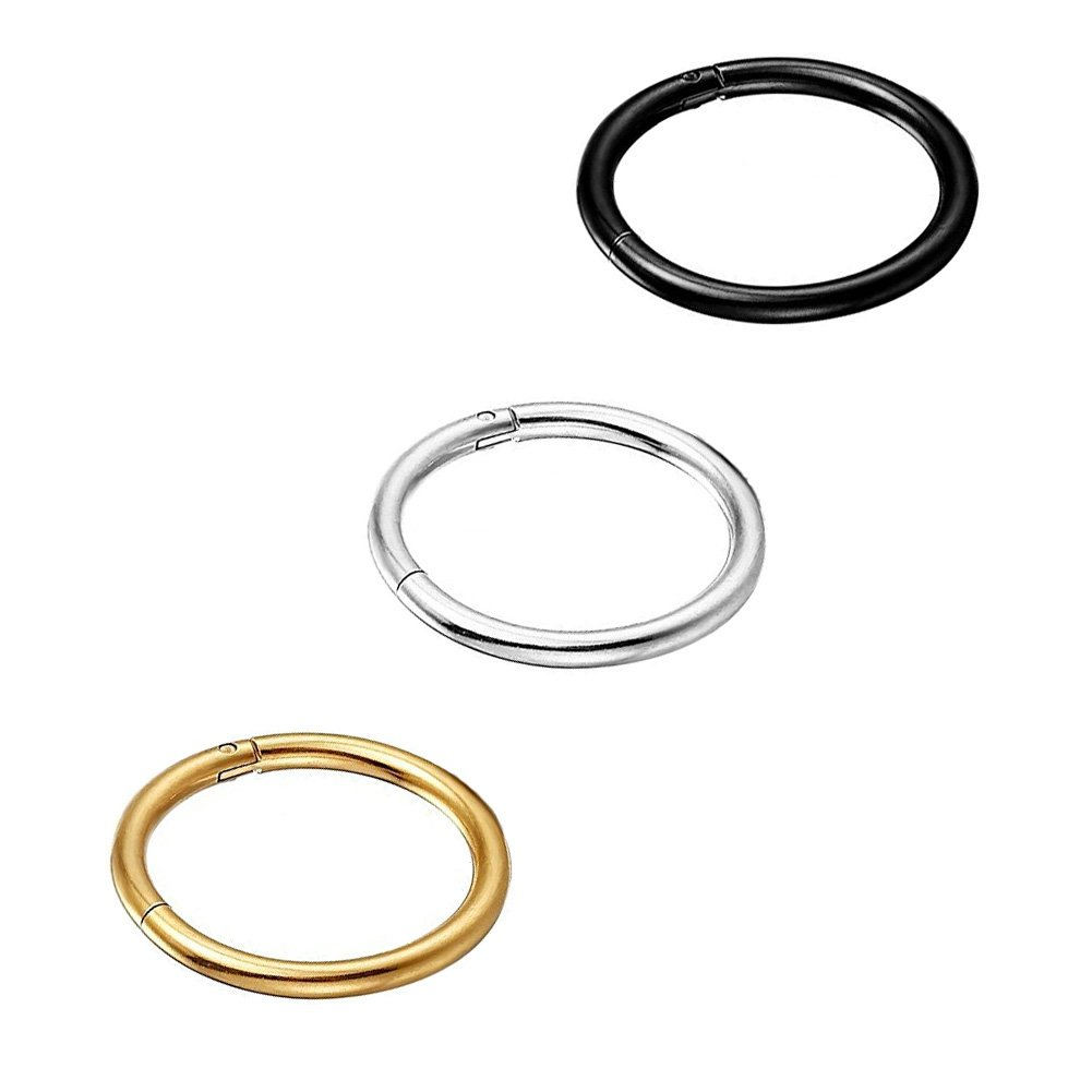 Yi Niao 3PCS Stainless Steel Seamless Nose Ring Hinged Body Piercing Ear Hoop Clicker Ring 8-14MM UK_B074QMZC21