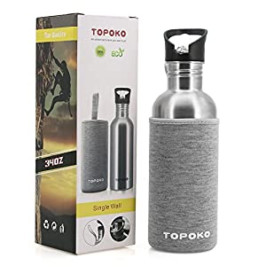 TOPOKO 34 OZ Straw Lid Stainless Steel Water Bottle With Nylon Sleeve(Grey and Black), Single Wall Leak Proof, BPA free Flip Top Lid