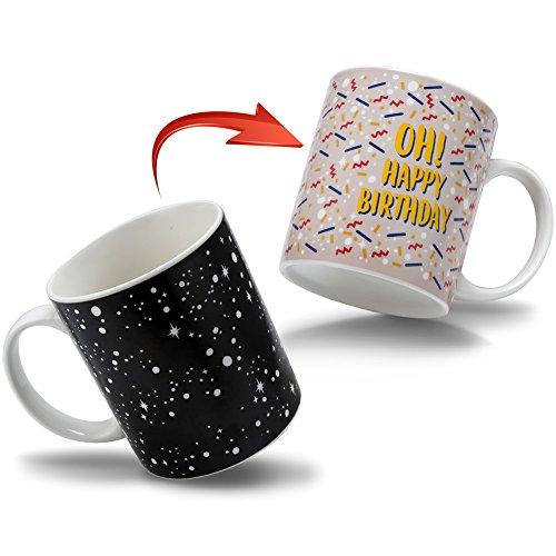 Heat Color Changing Mug Morning Coffee Mug Funny Magic Heat Sensitive Ceramic Tea Cup Novelty Coffee Mugs Birthday Gifts for Friends,Boyfriend, Girlfriend, Mom, 12 OZ - OH! HAPPY BIRTHDAY