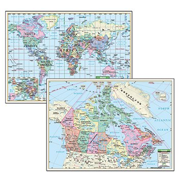 Physical Political Map Set (Political Maps Canada World 5/Set Deskpad)
