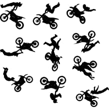 Motocross Wall Decal Sticker Set of 10 - Decal Stickers and Mural for Kids Boys Girls Room and Bedroom. Dirt Bike Wall Art for Home Decor and Decoration Ð Extreme Sport Motocross Bike Silhouette Mural