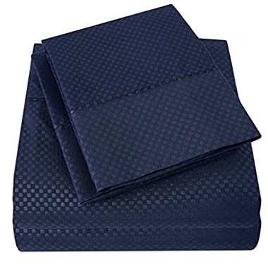 1500 Supreme Collection Bed Sheets - 4 Piece Bed Sheet Set Deep Pocket & LOW PRICE, SINCE 2012 - Wrinkle Free Hypoallergenic Bedding - SATEEN SHEETS - CHECKERED DOBBY - King, Navy