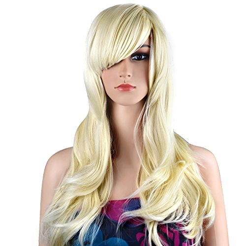 [Ecvtop Wigs 28 Inch Wavy Curly Cosplay Wig Women Wig Long Hair Heat Resistant Wig (Light Blonde)] (70s And 80s Party Costumes)