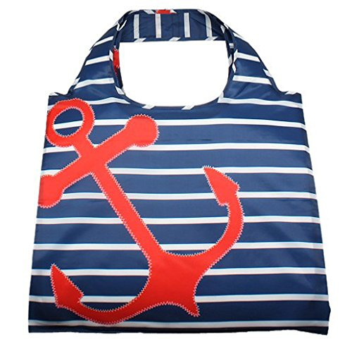 En V Bags 100% Water Resistant Reusable Grocery Tote Bag With Zipper Clip-On Pouch - Red Anchor Blue Stripes