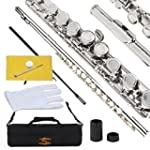 Glory Closed Hole C Flute With Case Tuning Rod and Cloth Joint Grease and Gloves Nickel Siver More Colors available Click to see more colors