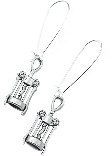 Sterling Silver Champagne Bottle and Cork Screw Earrings with Genuine Citrine Wine Gift Champagne Wine Lovers Earrings Wine Jewelry