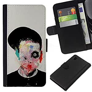 ZCell / Sony Xperia Z1 L39 / Abstract Horror Bow Meaning Art Deep / Caso Shell Armor Funda Case Cover Wallet / Resumen Horror Lazo Significado Ar