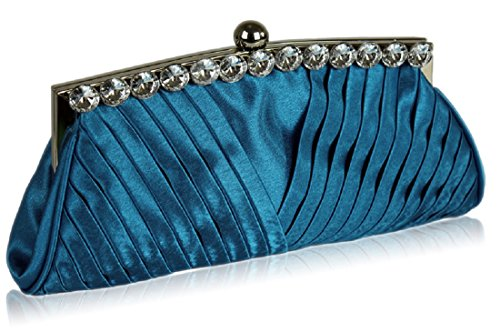 Ruched Blue DELIVERY With Stunning Crystal UK Clutch Satin Royal FREE Decoration FHExwqf