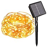 Flexble Solar Fairy String Lights Garden Outdoor/Indoor Copper Wire Lights Solar Powered Christmas Tree 100 Micro Warm White LEDs Starry Lamp Waterproof 10M 2 Mode for Valentine's Day,Party,Wedding