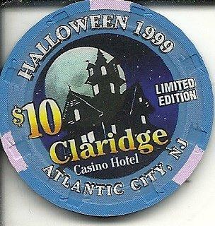 ($10 claridge 1999 halloween obsolete casino chip atlantic city new)