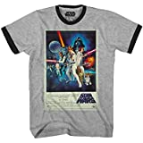 Star Wars Episode 4 IV A New Hope Movie Poster Adult Men's Graphic Ringer T-Shirt (Heather Grey, X-Large)