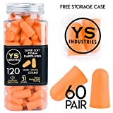 YS Industries Foam Earplugs Sound Blocking Orange Ear Plugs Hearing Protection Ultra Comfortable, 60 Pairs with Cary Case - 31dB Noise Reduction Rating for Sleeping, Snoring, Travel, Shooting and Work