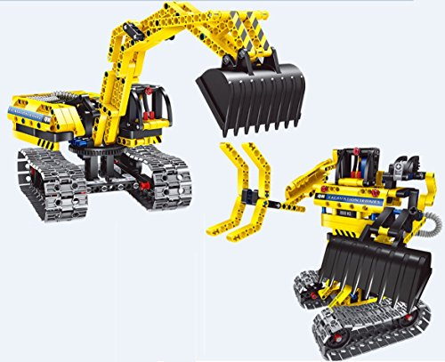 2 in 1 DIY Construction Truck & Transformer Robot Set, 342 Piece Blocks to Build Excavation Bob Cat, Sand Digger, Mars Space Rover - Rangers Power Diy