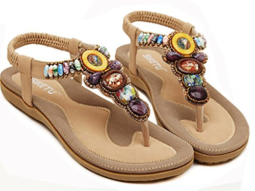 Bigood Summer Women's Beach Sea Thong Sandal Yollow 9rzYEm