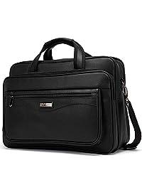 Leather Briefcase for Men Large Capacity 15.6 Inch Laptop Business Travel Shoulder Bag Black