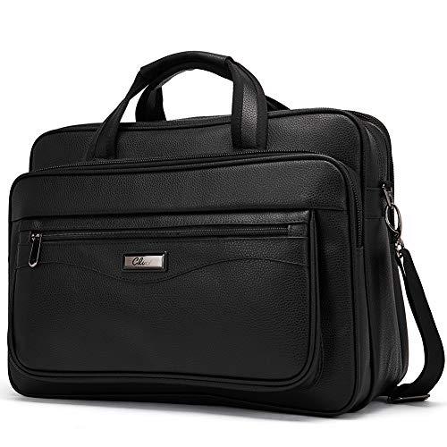 - Leather Briefcase for Men Large Capacity 15.6 Inch Laptop Business Travel Shoulder Bag Black