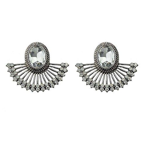 Crystal Fan Shape (Feelontop Luxury Retro Antique Gold Silver Rhinestone Design Fan-shaped Semicircle Stud Earrings with Jewelry Pouch (white))