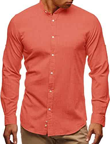 55eb0f2e Sherrylily Mens Henley Shirts Roll-up Sleeve Slim Fit Plain Button Casual  Tops (Small