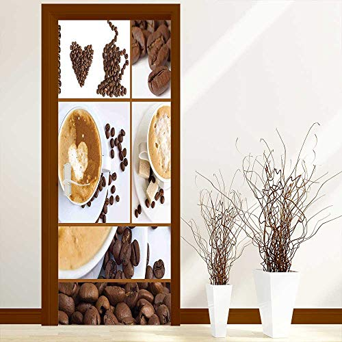 L-QN Creative Door Stickers Themed Collage of Beans Mugs Hot Foamy Drink with a Heart Macro Aroma Door Self-Adhesive Vinyl Removable W31 x H79 inch (Heart Foamies)