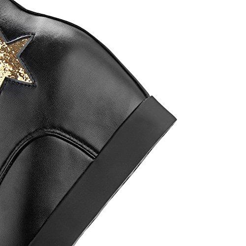 Allhqfashion Womens Hoge Hakken Zacht Materiaal Low-top Geassorteerde Kleur Veterschoenen Zwart