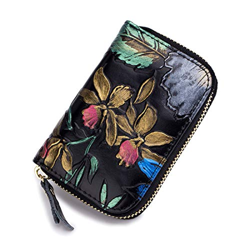 RFID Blocking Credit Card Holder For Men Women ID Card Case Genuine Leather Coin Purse Accordion Wallet Flower