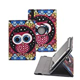Tsmine Samsung Galaxy Tab 4 8.0 Rotating Case Cartoon for Kids - Universal Protective Cute Owl Printed Rotary Leather Case Stand Cover for Samsung Galaxy Tab 4 8.0 SM-T330, Owl Under the Stars